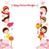 Китайские дети на рамке Стоковые Фото