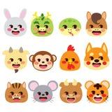 Китайские животные Emoji знаков зодиака иллюстрация вектора