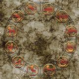 Китайские знаки зодиака астрологии как концепция фарфора эзотерическая стоковое изображение