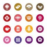 Китайские значки цвета Нового Года Стоковые Фото