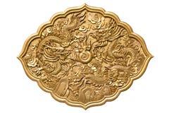 Китайские золотистые твиновские драконы Стоковые Изображения