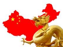 Китайские золотистые дракон и карта Китая Стоковые Фотографии RF