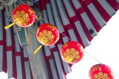 Китайские красные лампы или фонарики для торжества Нового Года Стоковое Изображение RF