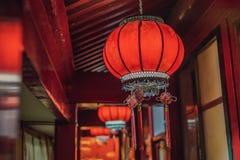 Китайские красные фонарики на китайский Новый Год Китайское duri фонариков стоковое изображение rf