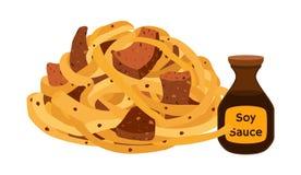 Китайские лапши, еда рамэнов, азиатская лапша Стиль шаржа плоский вектор иллюстрация вектора
