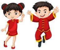 Китайские мальчик и девушка в красном платье иллюстрация штока