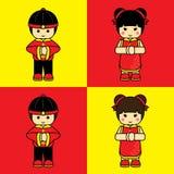 Китайские мальчик и девушка Стоковые Фото