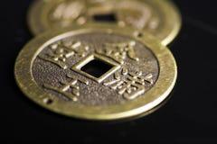 китайские монетки удачливейшие Стоковое фото RF