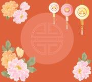 Китайские пионы Нового Года Стоковое Фото