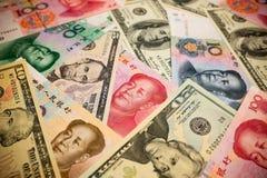 Китайские примечание юаней и u S вектор иллюстрации элемента доллара конструкции предпосылки Стоковые Изображения