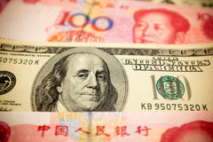 Китайские примечание юаней и u S вектор иллюстрации элемента доллара конструкции предпосылки Стоковая Фотография