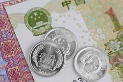 Китайские примечания и монетки Стоковое фото RF