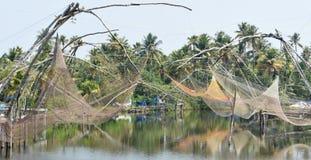 Китайские рыболовные сети в Керале Стоковые Фотографии RF