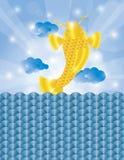 Китайские рыбы скача из предпосылки воды Стоковые Изображения