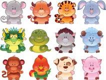 китайские символы horoscope Стоковые Изображения RF