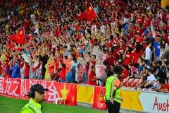 Китайские сторонники футбола стоковая фотография rf