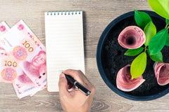 100 китайские счеты юаней и ростов дерева денег вверх в черноте Стоковые Изображения RF