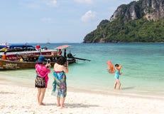 Китайские туристы в Таиланде Стоковые Изображения RF
