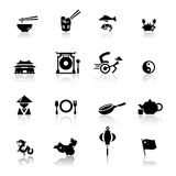 китайские установленные иконы культуры кухни Стоковые Изображения RF