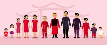 Китайские люди семьи конструируют плоско иллюстрация вектора