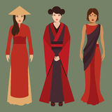 Китайские, японские и индийские женщины Стоковая Фотография RF