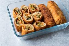 Китайские Vegetable яичные рулетики/Borek с соусом сои сои Стоковое Фото