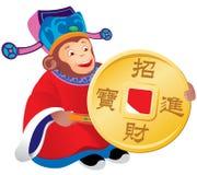 Китайский бог обезьяны процветания иллюстрация штока