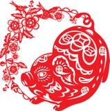Китайский год удачливой иллюстрации свиньи в бумажном отрезанном стиле иллюстрация штока