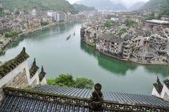 Китайский город на реке Стоковая Фотография