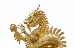 китайский дракон золотистый Стоковая Фотография