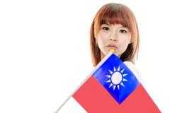 Китайский женский держа флаг Тайваня Стоковое Изображение RF