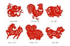 китайский зодиак бумаги вырезывания Стоковое Изображение RF