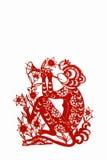 китайский зодиак бумаги обезьяны вырезывания Стоковое Изображение