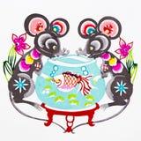 китайский зодиак крысы бумаги вырезывания цвета Стоковые Изображения
