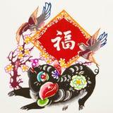 китайский зодиак свиньи бумаги вырезывания цвета Стоковая Фотография RF