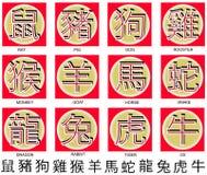 китайский зодиак символов иллюстрация штока