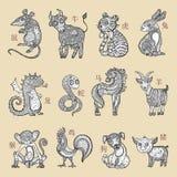 Китайский зодиак, стиль шаржа иллюстрация штока
