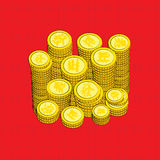Китайский золотой вектор монеток Стоковые Изображения