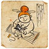 Китайский играть с котом Стоковые Фотографии RF