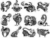 Китайский комплект дизайна знаков зодиака Стоковое Изображение RF