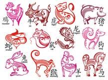 Китайский комплект дизайна знаков зодиака Стоковое Фото