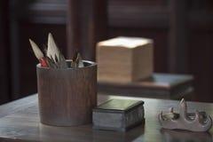 Китайский комплект каллиграфии Стоковая Фотография
