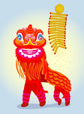 китайский красный цвет льва фейерверка танцы Стоковое Изображение