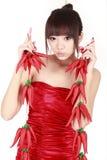 китайский красный цвет перца девушки Стоковые Фотографии RF