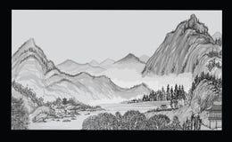 Китайский ландшафт с горой и облаками