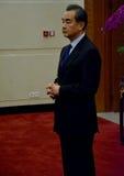 Китайский Министр Иностранных Дел Wang Yi перед встречей стоковая фотография rf