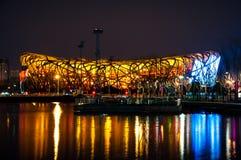 Китайский национальный стадион на ноче стоковые изображения rf