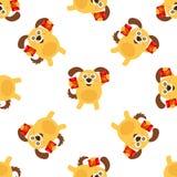 Китайский Новый Год безшовный отпразднуйте год собаки иллюстрация штока
