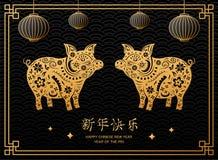 Китайский Новый Год 2019 с животным свиньи и китайским висеть фонариков стоковые фотографии rf
