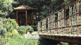 Китайский парк сезона лета беседки сток-видео